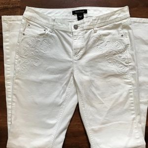 White House Black Market White Embroidered Jeans